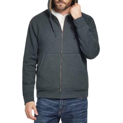 Weatherproof Mens Sweater Green Size Large L Hooded Sherpa Full-Zip