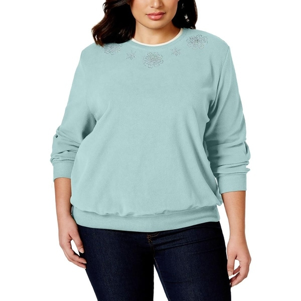 Alfred Dunner Womens Plus Pullover Sweater Fleece Embellished