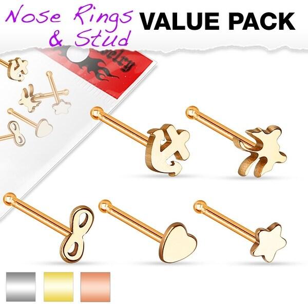 5 Pcs Value Pack Mixed Nose Studs - 20GA