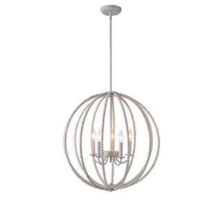 Link to Devin Casual 5 Light Wood Beaded Chandelier - N/A Similar Items in Chandeliers