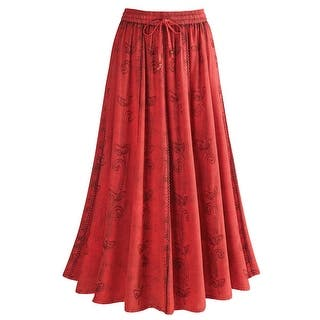 "Women's Over-Dyed Maxi Skirt - Elastic Waistband - 33"" Long