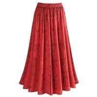"Women's Over-Dyed Maxi Skirt - Elastic Waistband - 33"" Long"