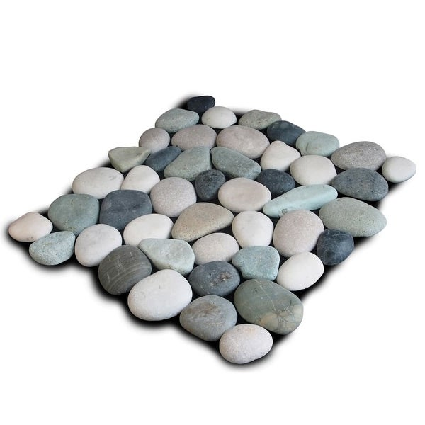 Miseno MT-P3PGBT Pebble Natural Stone Mosaic Tile (10.12 SF / Carton) - green/black/tan/white - N/A