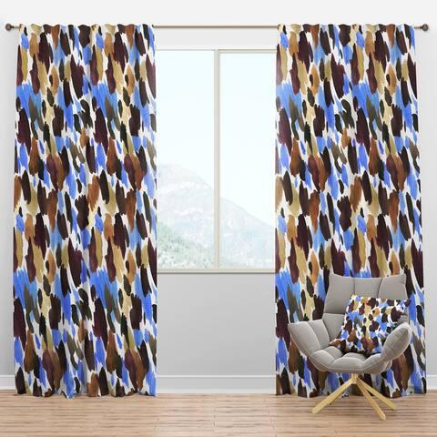 Designart 'Burgundy, Blue and Brown Leopard' Modern Blackout Curtain Panel