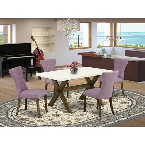 X726GA740-5 5-Pc Dining Set- 4 Parson Dining Chairs with Dahlia Linen Fabric Seat and Button Tufted Chair Back