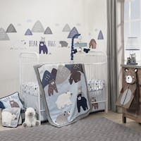 Lambs & Ivy Signature Montana Blue/Gray/White Woodland Bears & Mountains 6-Piece Baby Crib Bedding Set
