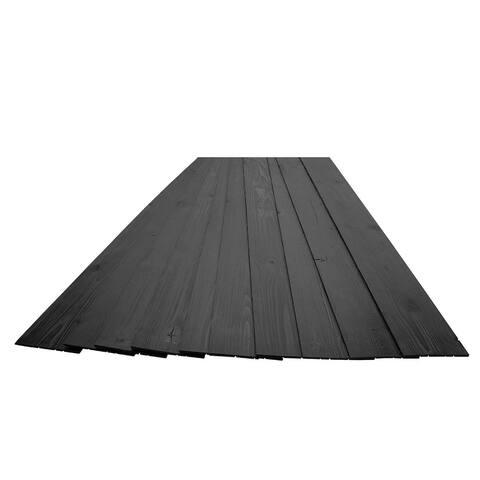 16 Sq Ft Pine Wood Wall Panels Peel & Stick Wooden Planks Black