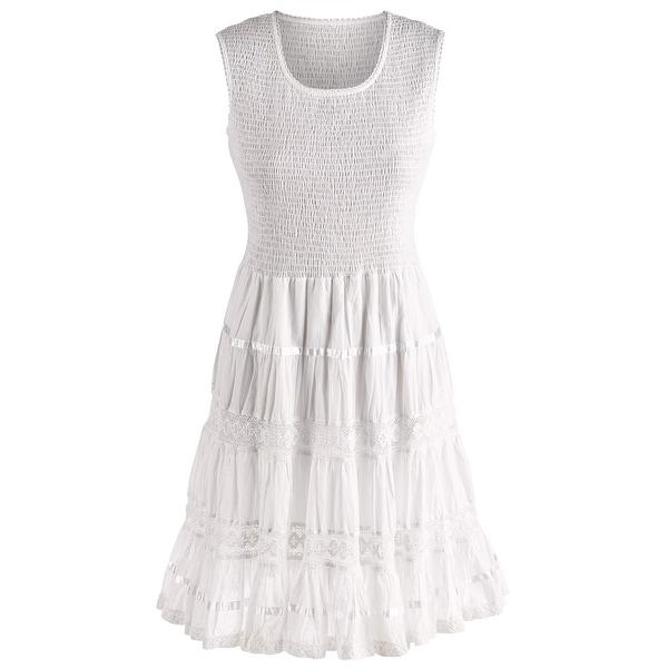 Women's Boho White Sundress - Sleeveless Tank Cotton Midi Summer Dress