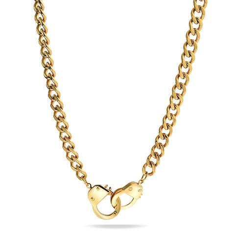 Handcuff Necklace Lock Partner Crime Gold or Silver Tone