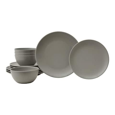 Bryce Grey 12 Pc Melamine Dinnerware Set