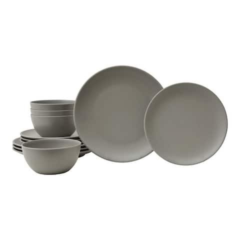 222 Fifth Bryce 12-Piece Melamine Dinnerware, Gray