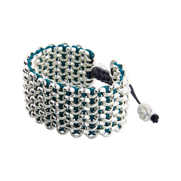 Links Women's Turquoise Six-Row Bracelet in Sterling Silver Plate