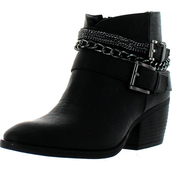 Betani Taylor-2 Women Metallic Chain Buckle Strap Side Zip Stacked Chunky Bootie - Black