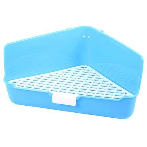 Blue White Plastic 35cm x 22cm x 17.5cm Triangle Mesh Design Dog Cat Pet Toilet