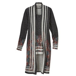 Women's Sweater and Tank Top Set - Parisian Print Duster with Matching Tank (2 options available)