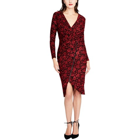 Rachel Rachel Roy Womens Cocktail Dress Embroidered Midi