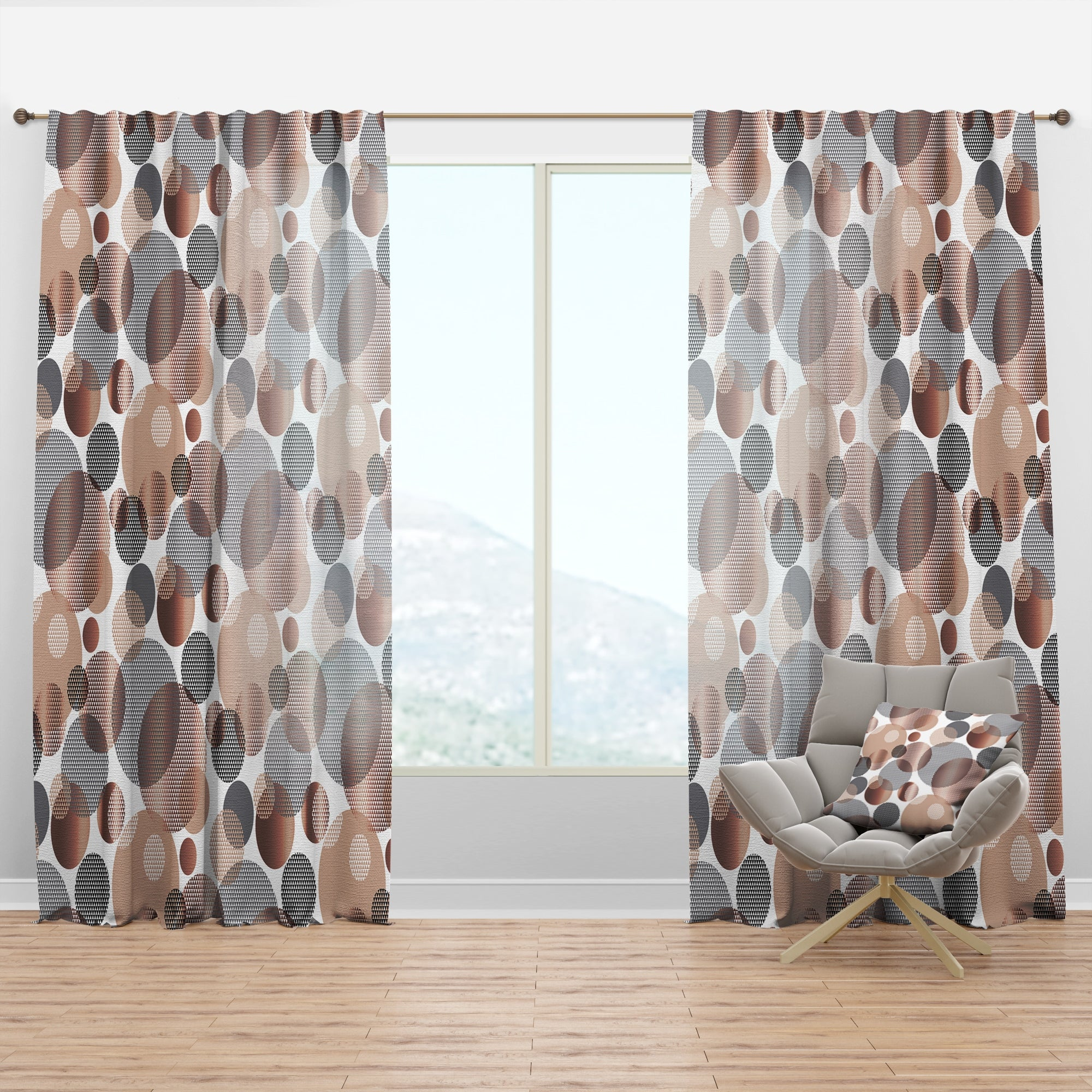 Shop For Designart Circular Abstract Retro Geometric Xiii Mid Century Modern Curtain Panel Get Free Delivery On Everything At Overstock Your Online Home Decor Outlet Store Get 5 In Rewards With Club O 29626187