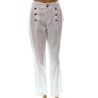 INC NEW White Women's Size 8X31 Linen Flare-Leg Button-Front Pants