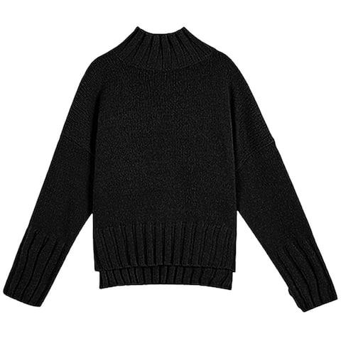 Women Autumn Winter Long Sleeve Turtleneck Split Hem Knitted Pullover Sweater