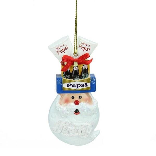 "3.75"" Glittered Santa Head Balancing Pepsi Christmas Ornament"