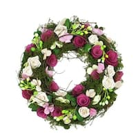 """14"""" Purple and White Flowers and Green Leaves, Berries and Twig Artificial Spring Floral Wreath - Pink"""