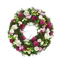 "12.5"" Purple and White Flowers and Green Leaves  Berries and Twig Artificial Spring Floral Wreath"