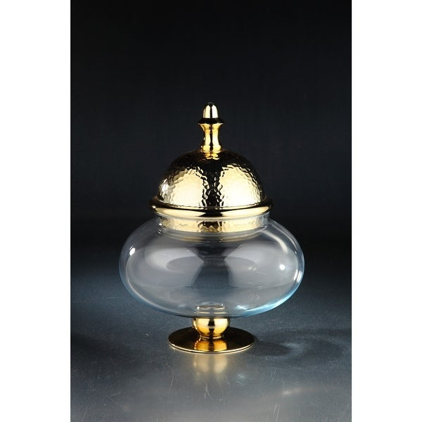 """16.5"""" Clear Hand Blown Round Glass Jar with Gold Pedestal and Finial Lid - N/A"""
