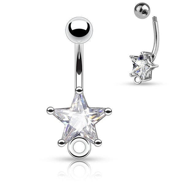 "Star CZ Surgical Steel with O-Ring for Add on Dangles Navel Ring - 14GA - 3/8"" Length (Sold Ind.)"