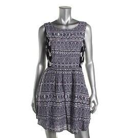 Aqua Womens Juniors Printed Criss-Cross Back Casual Dress - M