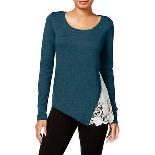 Kensie Womens Sweater Lace Side Scoop-Neck