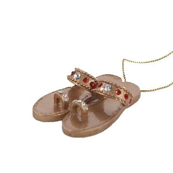 "2.25"" Fashion Avenue Gold Jeweled Women's Sandal Shoe Christmas Ornament"