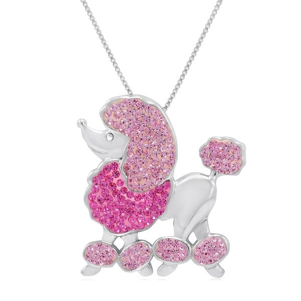 Amanda Rose Sterling Silver Poodle Pendant-Necklace made with Swarovski Crystals