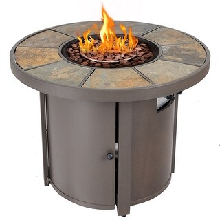 Costway 32'' Round Outdoor Propane Gas Fire Pit Table 50,000 BTUs Patio Heater With Cover - brown