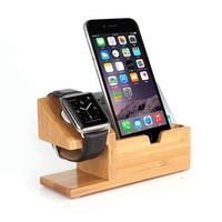 2 in 1 iWatch Bamboo Wood Charging Dock Station Cradle Holder With 3 Ports USB