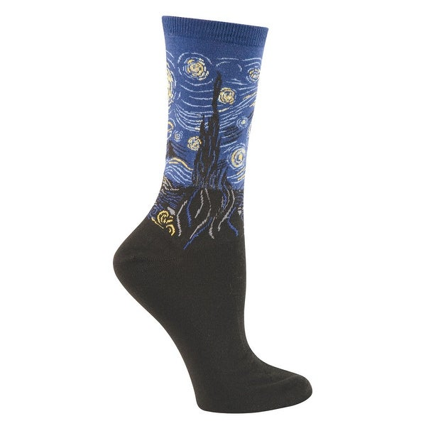 Women's Colorful Fine Art Socks - Starry Night - Medium