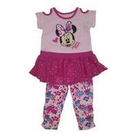 Disney Little Girls Pink Minnie Heart Print Bottom Mesh 2 Pc Legging Set