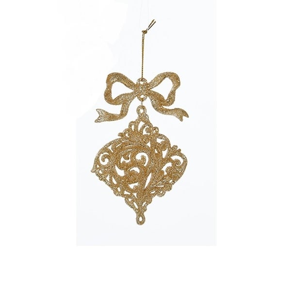 """5"""" Rich Elegance Decorative Gold Glitter Onion with Bow Christmas Ornament"""