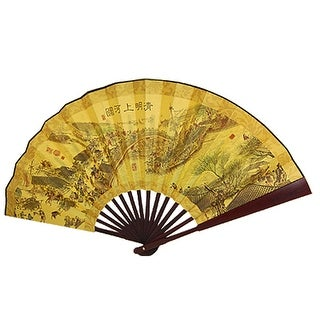 Unique Bargains Chinese Poem Pattern Paper Bamboo Large Folding Fan Yellow for Men