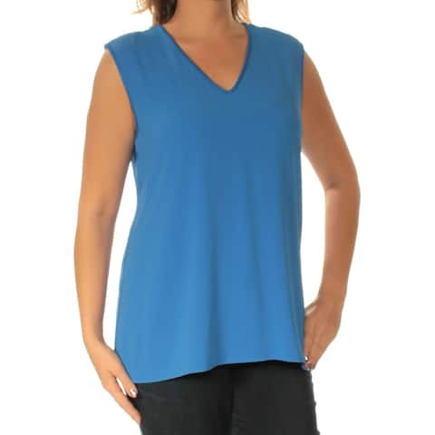 VINCE CAMUTO Womens Blue Sleeveless V Neck Top Size: L