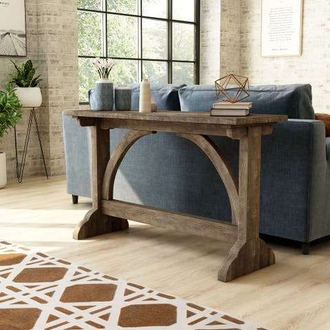 Furniture of America Catrina Rustic Reclaimed Oak Finish Sofa Table