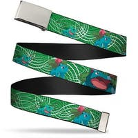 Blank Chrome Buckle Bulbasaur Evolution Green Stripe Swirl Webbing Web Web Belt