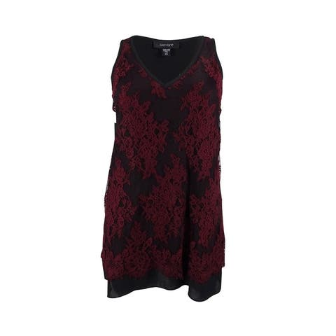 Karen Kane Women's Sleeveless Lace Overlay Top - Wine/Black