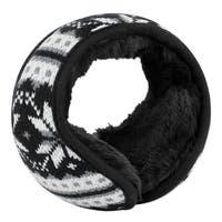 Warm Foldable Winter Knit Earmuffs for Women Men Black-2