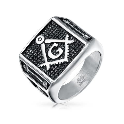 Mens Freemason Two Tone Oxidized Flat Top Stainless Steel Secret Society Ring Rhodium Plated