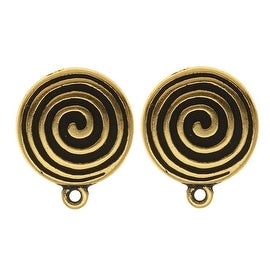 TierraCast 22K Gold Plated Pewter Spiral Clip On Earrings 17mm (1 Pair)