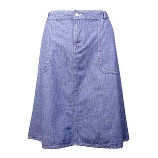 Tommy Hilfiger Women's Pocket Cotton Chambray Skirt - Medium Wash
