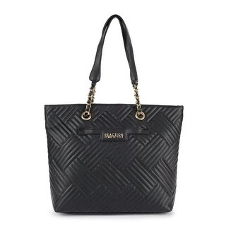Kenneth Cole Reaction Womens Manhattanville Faux Leather Quilted Tote Handbag - Black - Large