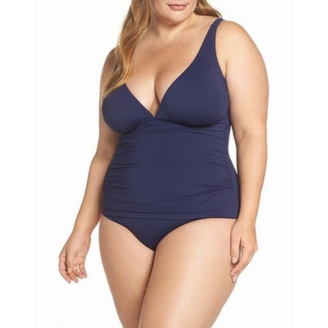 Tommy Bahama Blue Womens Size 16 Plus Ruched One-Piece Swimwear