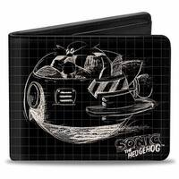 Sonic Classic Doctor Eggman Flying Egg Mobile + Body Blueprints Black White Bi-Fold Wallet - One Size Fits most