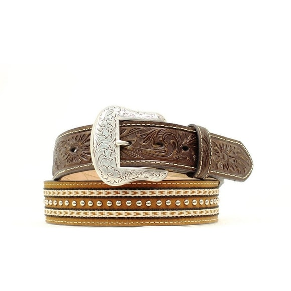 Nocona Western Belt Mens Leather Tooled Ribbon Studs Brown